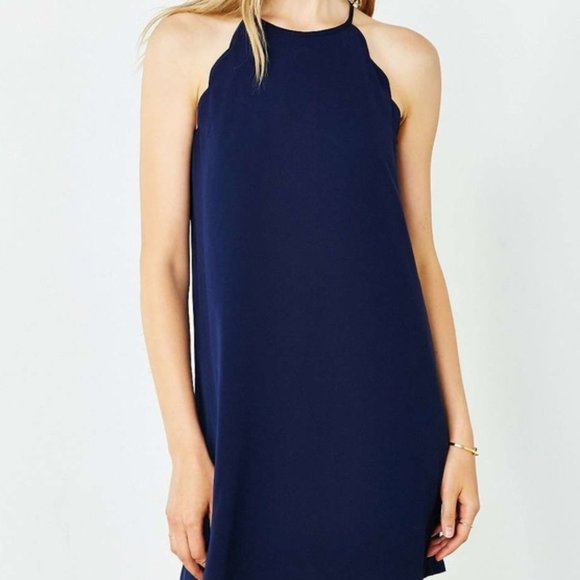 UO Dark Navy Blue Cooperative Scallop Edge Dress